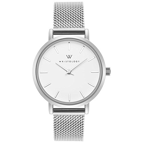 WRISTOLOGY Charlotte Womens Watch Silver Metal Mesh Ladies Changeable Strap Band (Silver Metal Watch Round)