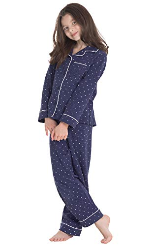 PajamaGram Big Girls Pajamas Set - Long Sleeve 2 Piece Girls Pajamas Set Navy]()