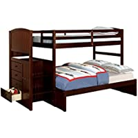Furniture of America Sammy Bunk Bed with 3-Drawers, Twin-Over-Full, Espresso