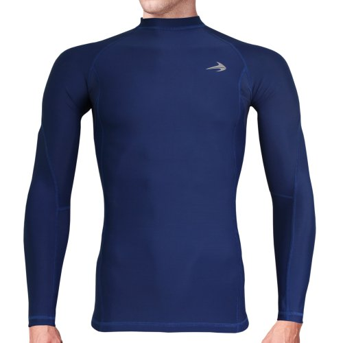 Compression Shirt Long Sleeve (Navy - S) Men's Cold Top, Best for Gym Running, Basketball