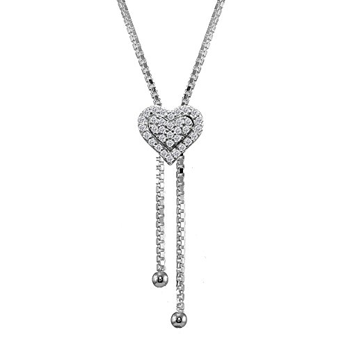 GemStar USA Sterling Silver Cubic Zirconia Heart Halo Drop Adjustable Lariat Necklace