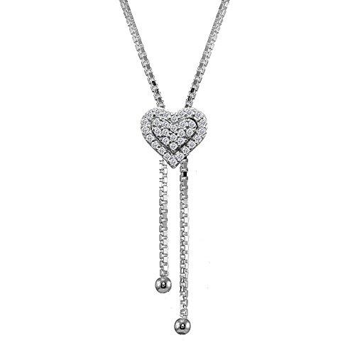 Drop Cubic Zirconia Beads Pendants (Sterling Silver Cubic Zirconia Heart Halo Drop Adjustable Lariat Necklace)