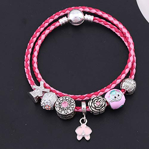 Fashion Women Mixed Pink Double Circle Woven Leather Bracelet Beaded DIY Crystal Charm Bracelets Bangles Jewellery pink 2 ()