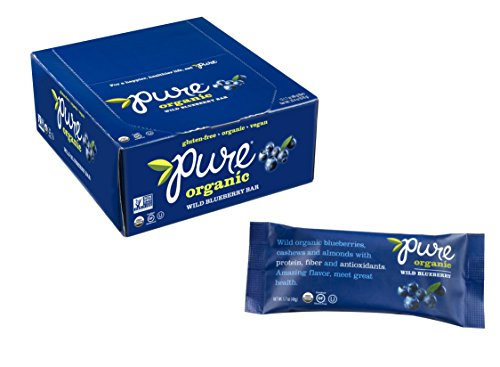 Pure Organic Wild Blueberry Bar, Gluten-Free, Certified Organic, Non-GMO, Vegan, Kosher, Plant Based Whole Food Nutrition Bar, 1.7 ounce (Pack of 12)