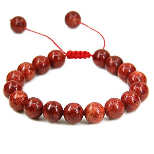 (Natural Red Coral Gemstone 10mm Round Beads Adjustable Braided Macrame Tassels Chakra Reiki Bracelets 7-9 inch Unisex)