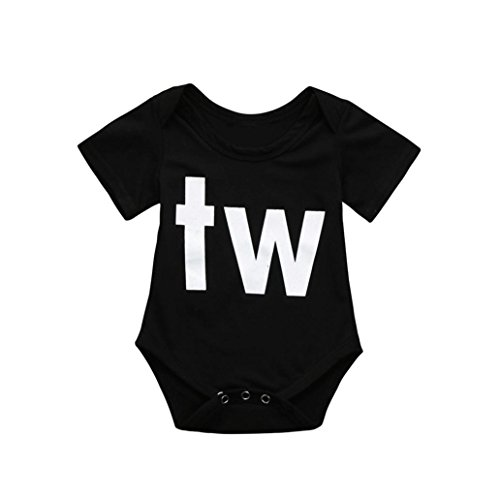 Newborn Infant Baby Bodysuit, Boys Girls Twins Cotton Letter Romper Playsuit Outfits Clothes (Black B, 6-12 Months)