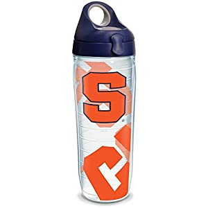 Tervis 1289327 Syracuse Orange Tumbler with Wrap and Navy with Gray Lid, 24oz Water Bottle, Clear