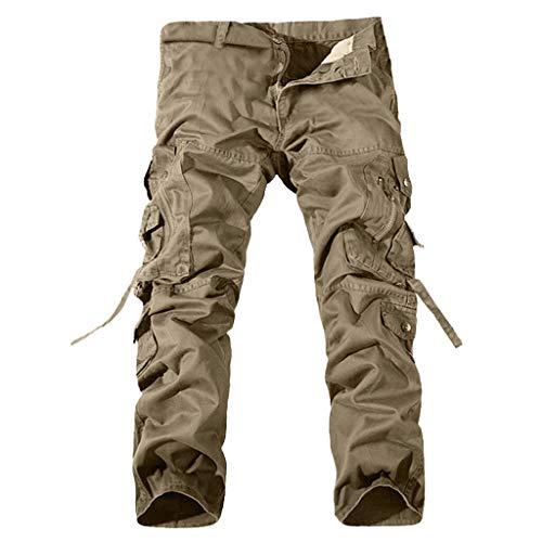 Stoota Men's Long Pants, Casual Pleated Zipper Mid Waist Multi Pockets Trousers Khaki