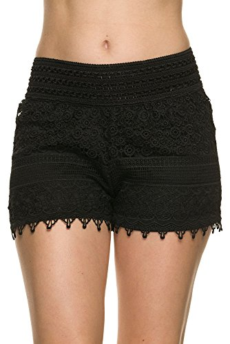 Bellarize Women's Crochet Shorts with Jagged Edge and Inner Lining Black Small (Black Lace Shorts)