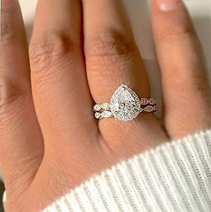 925 Silver Women White Topaz Princess Cut Wedding Band Ring Jewelry Size 5-10