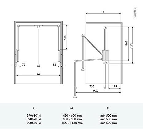 Casaenorden Barra ABATIBLE para Armario - Ancho 830-1150mm ...
