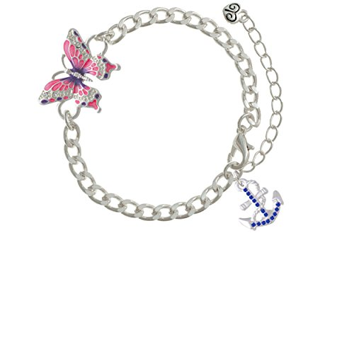 (Blue Crystal Anchor Pink Butterfly Link Charm)