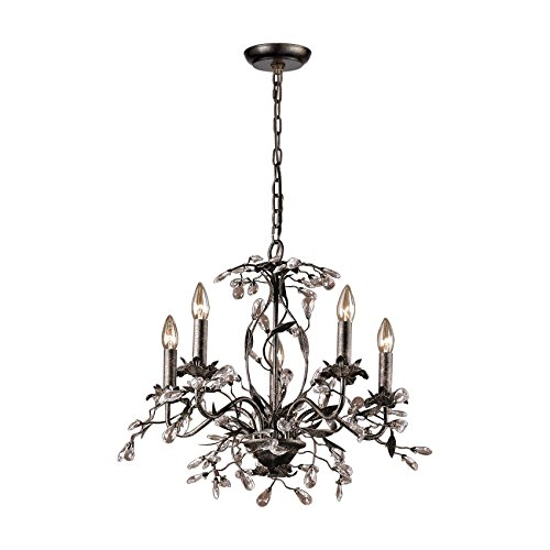 (Elk 8053/5 5-Light Chandelier in Deep Rust and Crystal Droplets)