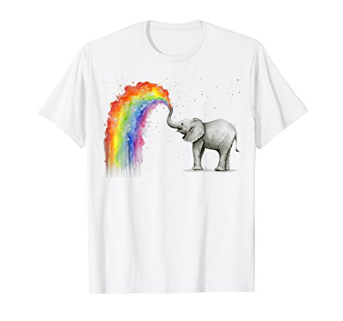 - Elephant Spraying Rainbow T-shirt Baby Elephant Watercolor