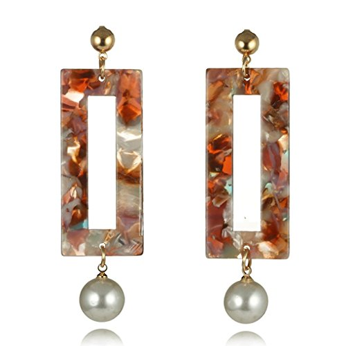 Jiayit Long Drop Earrings for Women Girls Teens, Clearance Sale! Fashion Pearl Amber Long Rectangle Dangle Earrings Unique Design Drop Gift (B)