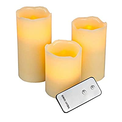 Battery Operated LED Flameless Candles, Remote Control Window Vanilla Scented Candle, Dancing Decorative Candle Set of 3