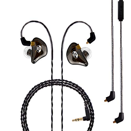 BASN Professional in-Ear Monitor Headphones for Singers Drummers Musicians with MMCX Connector Earphones Pro ClearBrown