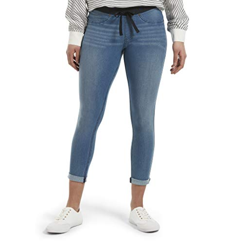 (HUE Women's Plus Size Sweatshirt Denim Cuffed Capri Leggings, Stonewash, 1X)