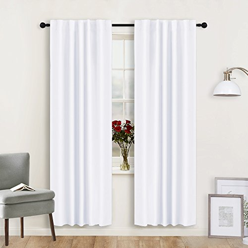 ing Curtains - Window Shades Covering Privacy Protect Sunlight Block Back Tab & Rod Pockets Top for Living Room/Kitchen / Studio, W 42 x L 72 in, Pure White, One Pair ()