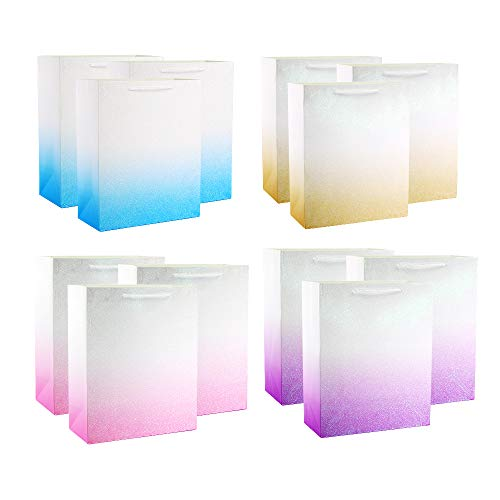 UNIQOOO 12Pcs Premium Glitter Ombre Gift Bags,Large 12.5x10.5x4'',Shopping Gift Bag Bulk,Sparking Gold,Pink,Purple,Blue Recyclable Kraft Paper,Gift Wrap Party Favor Bags,Goodie Bags, Bridal Treat Bags -