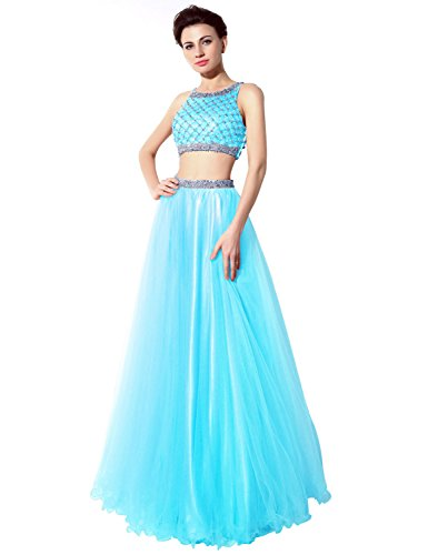 Belle House Two Piece Ball Gown Prom Dresses 2015 with Sleeveless Sequined Bodice