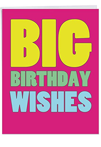 Supersized Happy Birthday Greeting Card With Envelope 8.5 x 11 Inch - Hilarious 'Big Birthday Wishes' Appreciation Card - Bolder and Bigger Letters On Bright Pink Background - HBD Cards J2720BDG