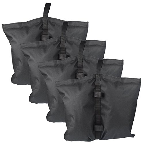 Wobe 4 Pack of Industrial Grade Weights Bag, Leg Weights for Pop up Canopy Tent Weighted Feet Bag Sand Bag Pop Up Canopy Weights Black with Velcro Seals Waterproof 600D Polyester by Wobe