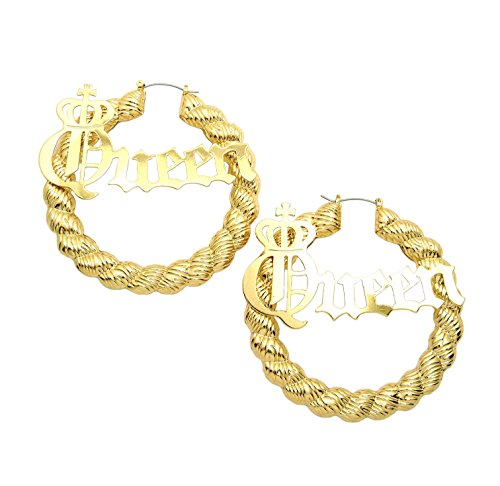 Women's Statement Queen Necklace , Bamboo Pierced Earring in Gold Tone (Queen Earring / Rope (Bamboo Style Earrings)