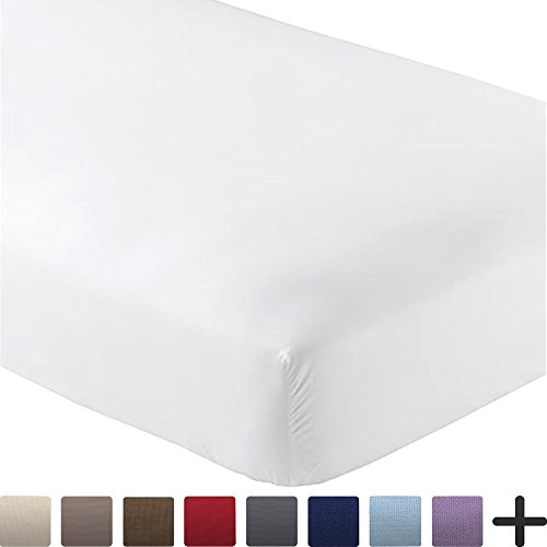 Fitted Bottom Sheet Premium 1800 Ultra-Soft Wrinkle Resistant Microfiber, Hypoallergenic, Deep Pocket (Cal King, White)