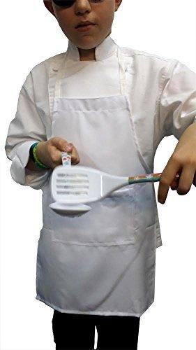 CHEFSKIN M White Kid Children Chef Set (Apron+hat) Lite Fabric Fits -