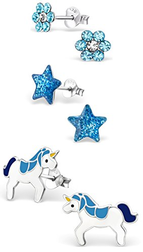 "Price comparison product image Best Wing Jewelry .925 Sterling Silver ""Blue Tiny Star,  Flower and Unicorn"" Set Stud Earrings for Children and Teens (3 Pairs)"
