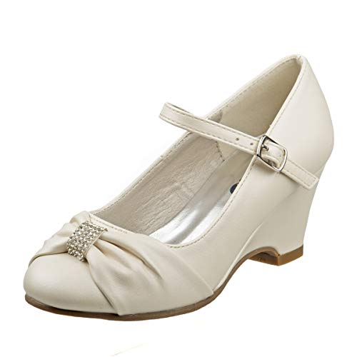 Josmo Girls Wedge Heel Dress Shoe Rhinestone Buckle Bow (Little Kid, Big Kid) (2 M US Little Kid, Beige - Wedge Front Bow