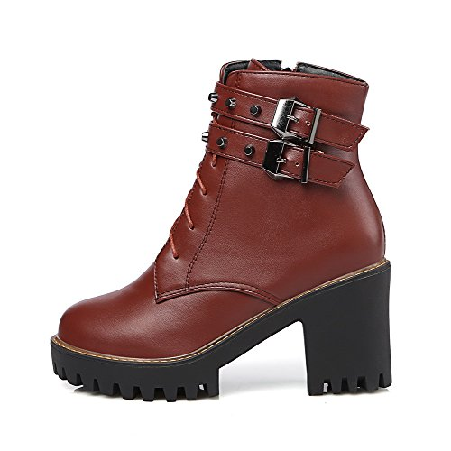 Allhqfashion Top Boots Women's Heels Zipper High Low Pu Brown Solid 4Bn4xpZw