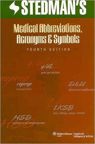 Stedmans Medical Abbreviations Acronyms And Symbols Stedmans