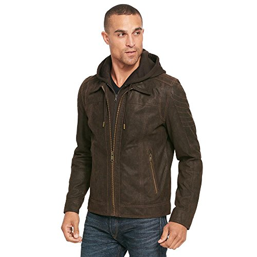 Mens Hooded Leather (Wilsons Leather Mens Vintage Hooded Genuine Leather Jacket M Brown)
