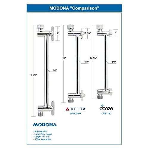 "hot sale MODONA 13"" Adjustable Shower Arm - Made of Solid BRASS – Rubbed Bronze - 5 Year Warrantee"