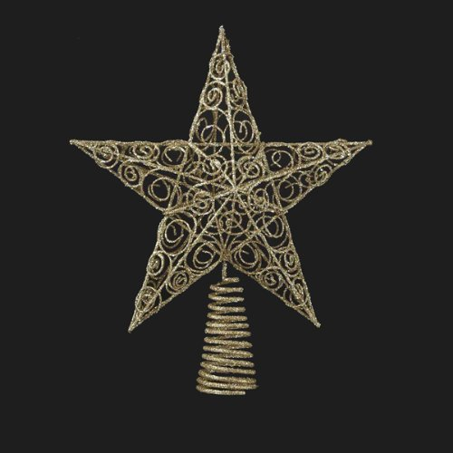 Bundle Pack of 12, Kurt Adler 10-Inch Gold Star Tree Topper