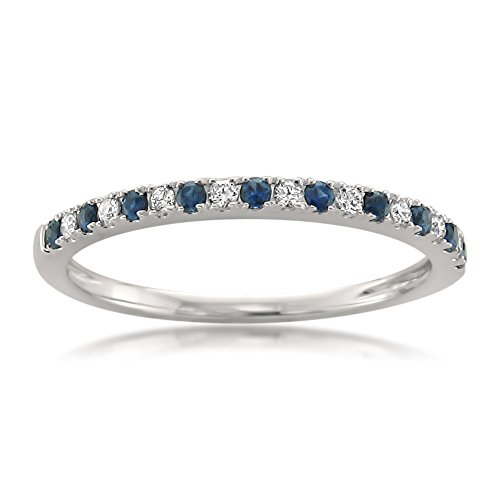 14k White Gold Round Diamond & Blue Sapphire Micro-Pave Bridal Wedding Band Ring (1/4 cttw, H-I, VS2-SI1), Size 9.5