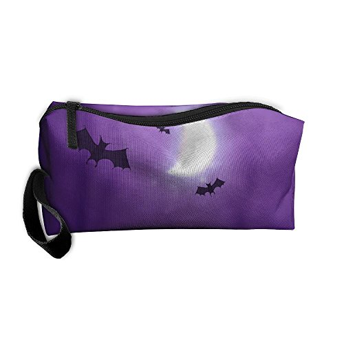 ZPbag Sky Creepy Moon Blue Halloween Portable Zipper Storage Bag Make-Up Pouch Beauty Cosmetic Bag Carry Case Brush Organizer Toiletry Hanging Storage Bag Sewing Kit Medicine Bag