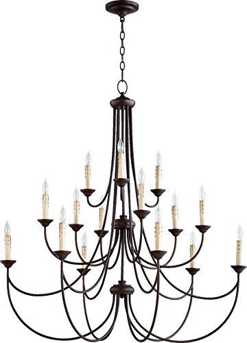 Quorum Lighting 6250-15-86, Brooks 3 Tier Chandelier Lighting, 15LT, 300 Watts, Oiled Bronze