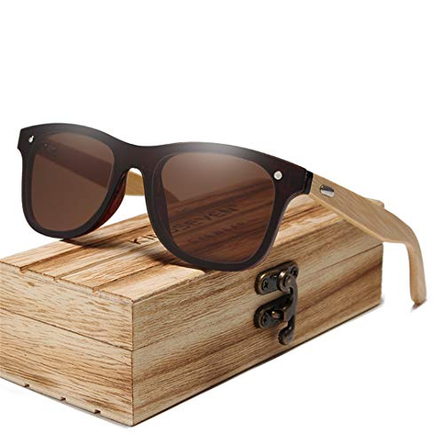 (YHNSHKHKU Bamboo Polarized Sunglasses Men Wooden Sun Glasses Women Original Wood Glasses Brown Bamboo)