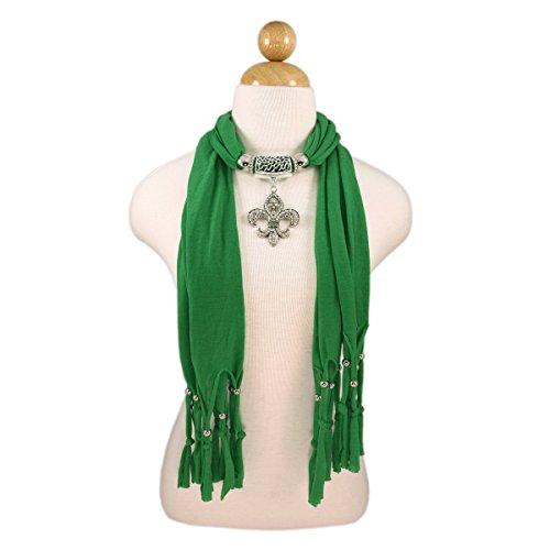 Elegant Charm Pendant Jewelry Necklace Scarf w/ Fleur de lis Medallion, Green