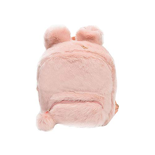 YSMYWM Women Cute Rabbit Ears Backpack Faux Fur Shoulder Bag Fluffy School Bag with Ball Pendant -