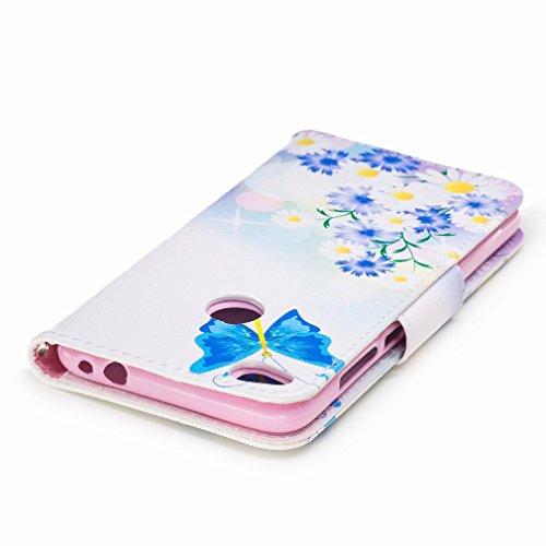 Yiizy Huawei P8 Lite (2017) / Honor 8 Lite / Nova Lite Funda, Blue Butterfly Diseño Solapa Flip Billetera Carcasa Tapa Estuches Premium PU Cuero Cover Cáscara Bumper Protector Slim Piel Shell Case Sta