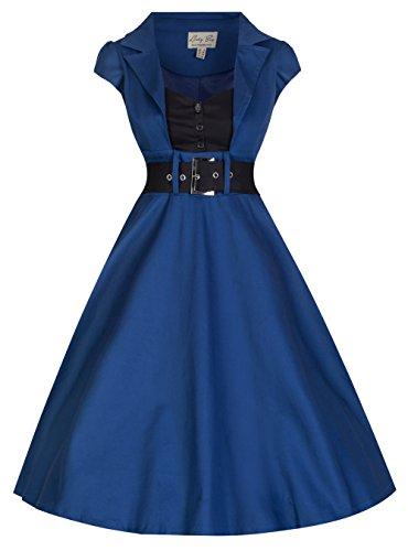 Lindy Bop Women's 'Geneva' 1950's Vintage Inspired Swing Party Dress (L, Midnight Blue)