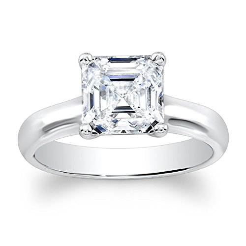 Ladies 14k white gold plain solitaire engagement ring with natural 2ct Asscher Cut White Sapphire center gemstone by EVS Designs