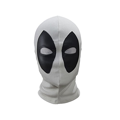 Deadpool Cosplay Mask Costume Halloween Hood Cotton Spandex Leather Adults kids (White) -