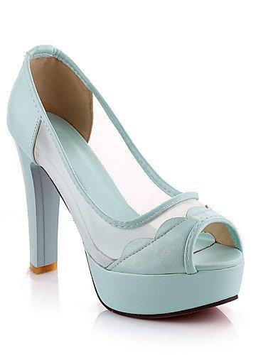 ShangYi Chaussures de mariage - Noir / Bleu / Rose / Blanc - Mariage / Habillé / Soirée & Evénement - Talons / Bout Ouvert / A Plateau - Sandales , 4in-4 3/4in-blue