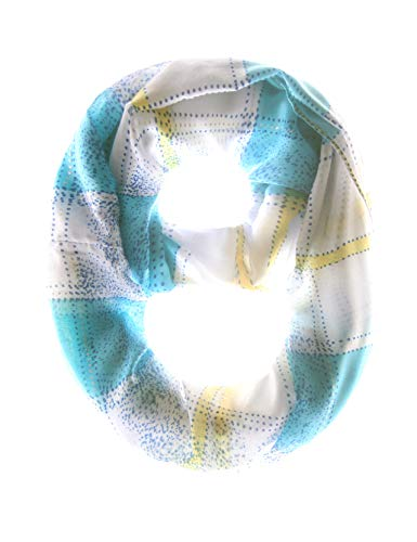 - MissShorthair Women's Light Weight Colorful Painting Plaid Tartan Infinity Scarf (61blue)