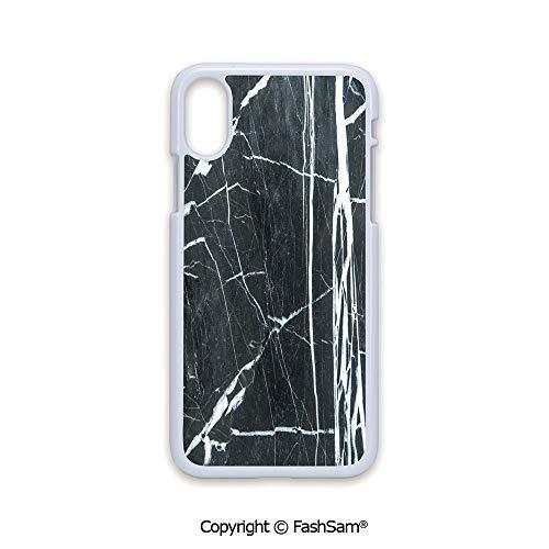 Plastic Rigid Mobile Phone case Compatible with iPhone X Black Edge Grunge Natural Gemstone Nostalgic Marbling Architecture Culture Design Decorative 2D Print Hard Plastic Phone Case ()